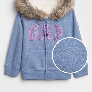 GAP Shirts & Tops - GAP GIRL Logo Sherpa lined  Fur-Trim Zip Hoodie
